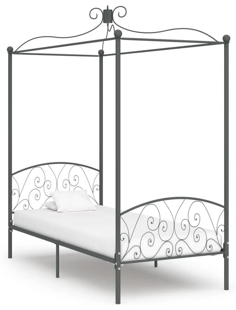 284481 vidaXL Cadru de pat cu baldachin, gri, 100 x 200 cm, metal