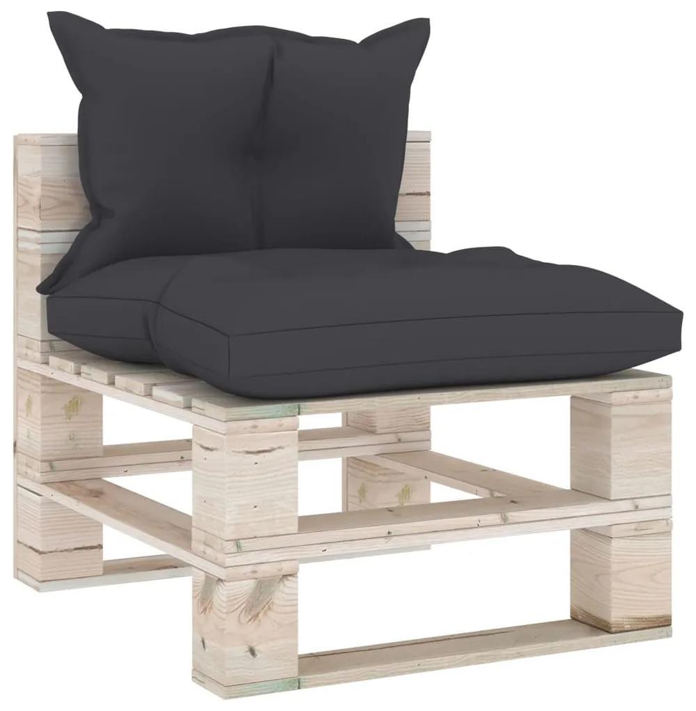 3066070 vidaXL Canapea de grădină din paleți, de mijloc, cu perne, lemn pin