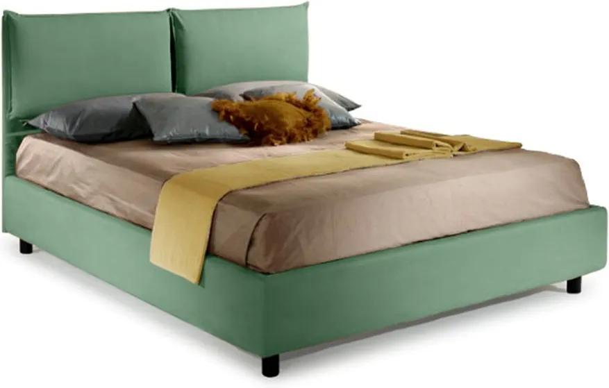 Pat Dormitor Matrimonial Bed&Sofa Fiocco iSomn 160x200 cm, lada de depozitare, stofa, verde