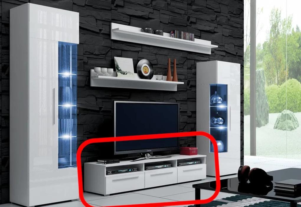 Expedo Comodă TV LUGANO, alb/alb luciu - 150/35/45cm