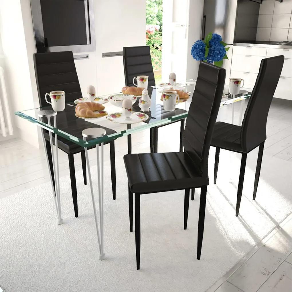 241497 vidaXL Scaune de bucătărie, 4 buc., negru, piele ecologică
