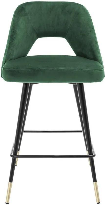 Scaun de bar verde catifea H100 cm Avorio Bar Stool