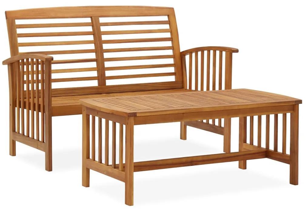 310262 vidaXL Set mobilier de grădină, 2 piese, lemn masiv de acacia