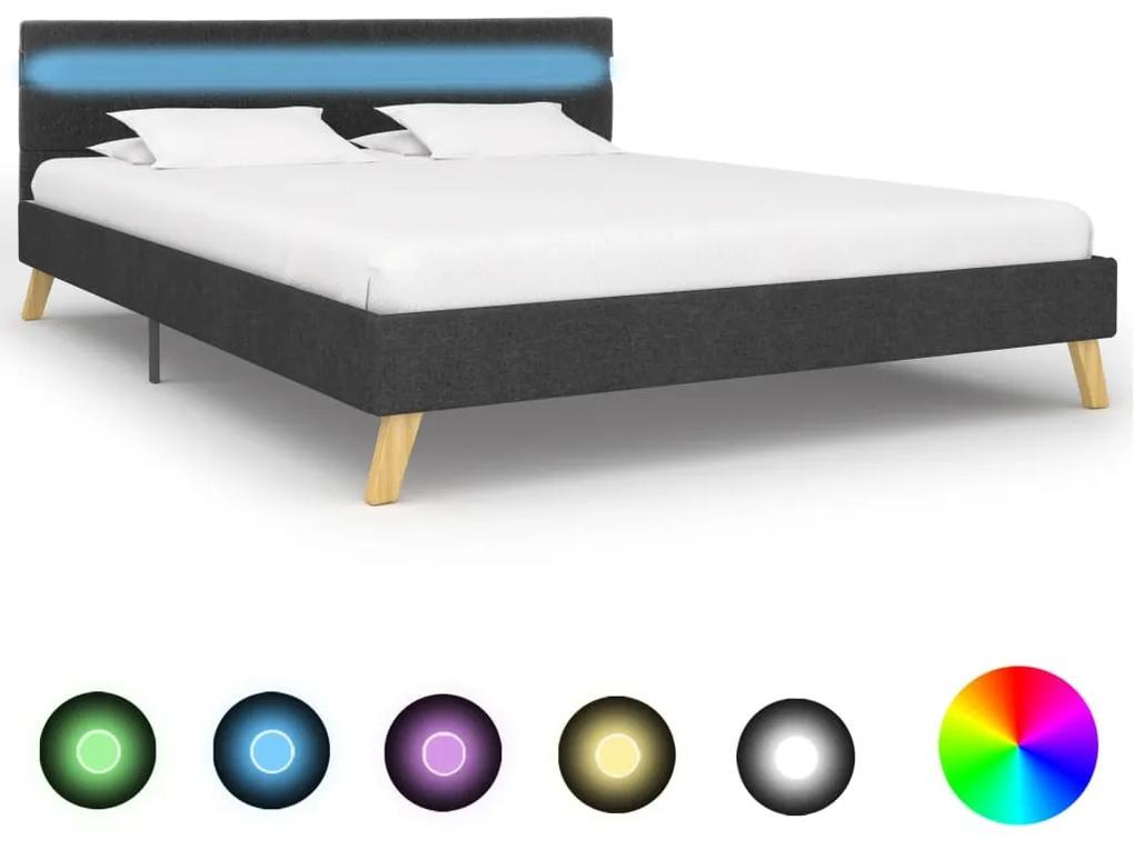 284842 vidaXL Cadru pat cu LED-uri, gri închis, 120x200 cm, material textil
