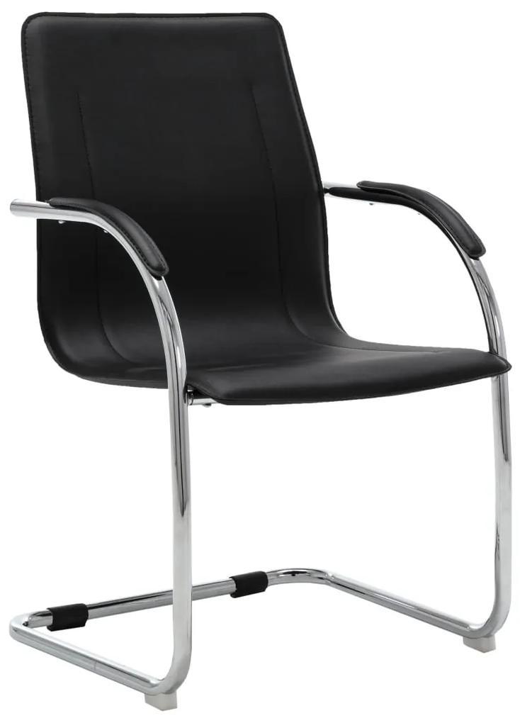 289355 vidaXL Scaun de birou tip consolă, negru, piele ecologică