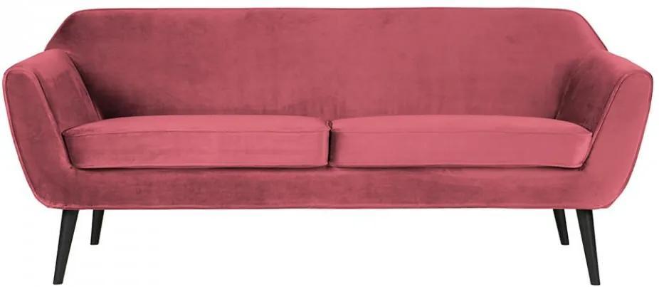 Canapea roz din catifea si lemn pentru 2,5 persoane Rocco