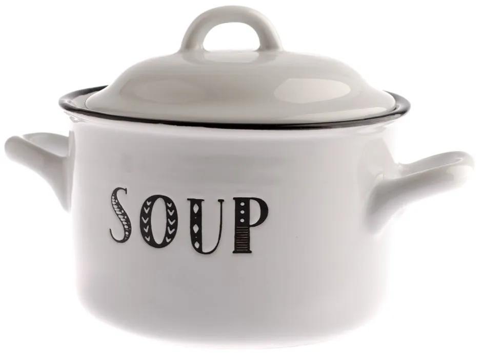 Oală cu capac din ceramică pentru supă Dakls Soup, 920 ml