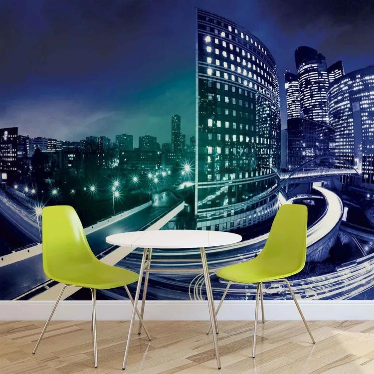 City Skyline Night Fototapet, (152.5 x 104 cm)