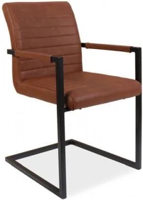 Scaun tapitat cu piele ecologica si picioare metalice Solid Maro / Negru, l47xA44xH87 cm
