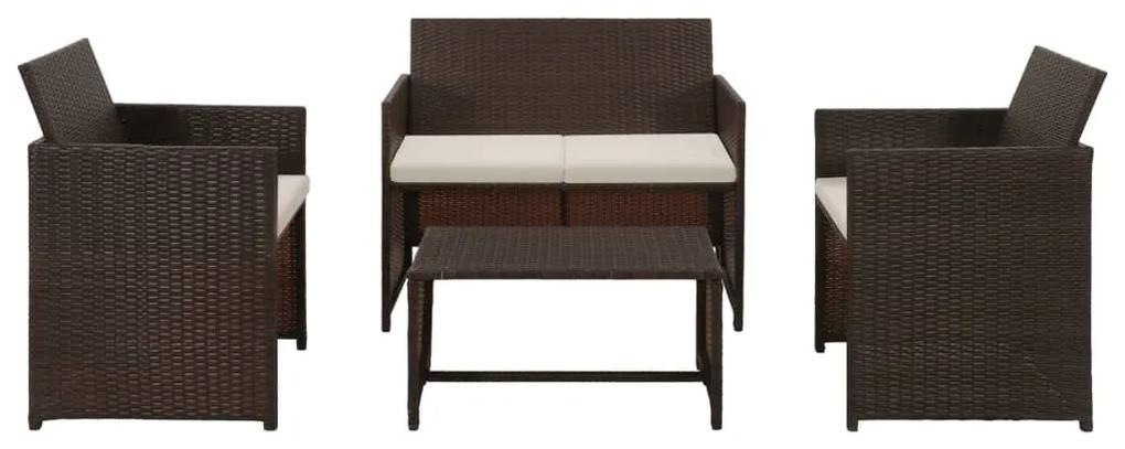 43908 vidaXL Set mobilier de grădină cu perne, 4 piese, maro, poliratan