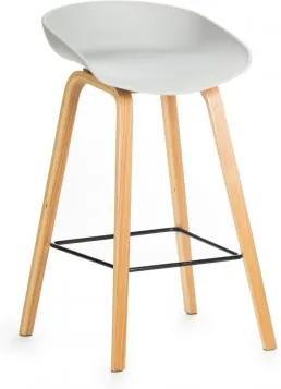 Scaun de bar din plastic, cu picioare de lemn Jolo Grey, l52xA46xH65cm