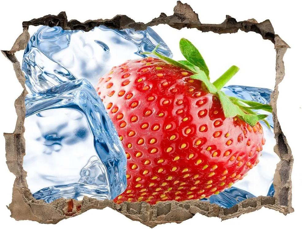Autocolant un zid spart cu priveliște Căpșuni gheață