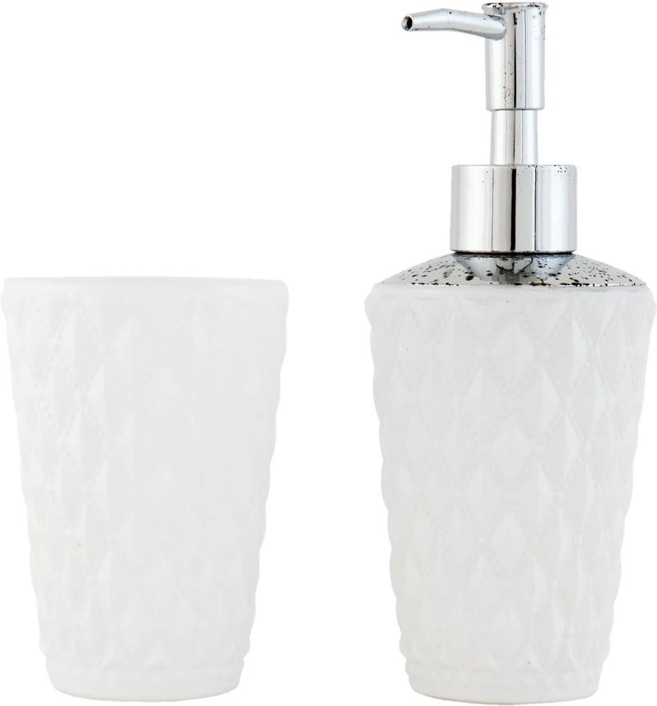 Set baie sticla alba 2 piese dispenser sapun pahar Ø 8x11 cm