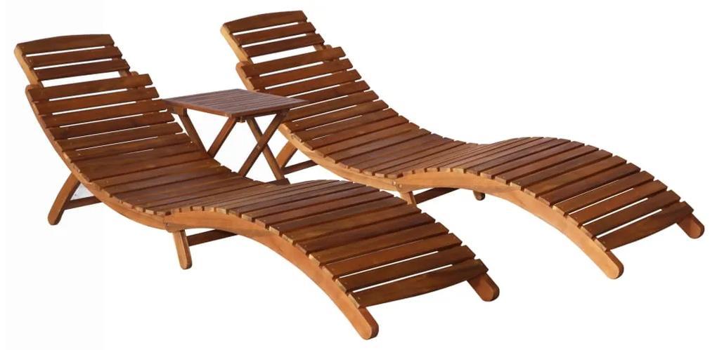 3057995 vidaXL Set șezlonguri cu masă, 2 piese, lemn masiv de acacia