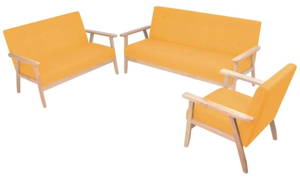 274919 vidaXL Set canapea din 3 piese, material textil, galben