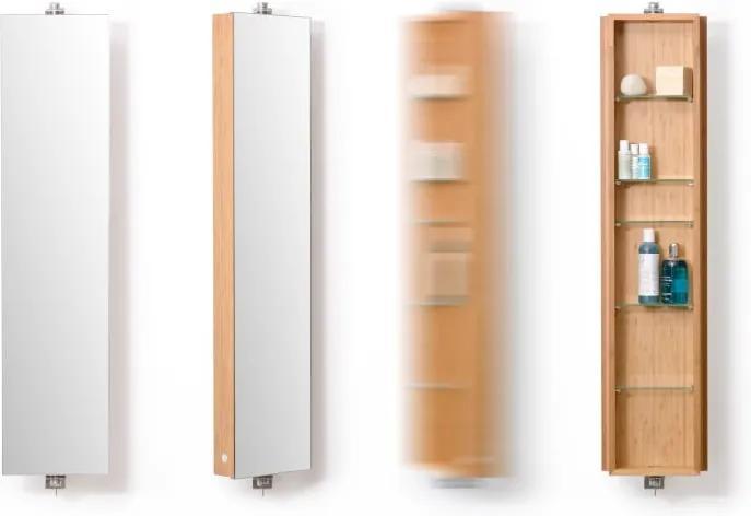 Dulap din lemn cu oglindă Wireworks Domain Bamboo, 110 cm