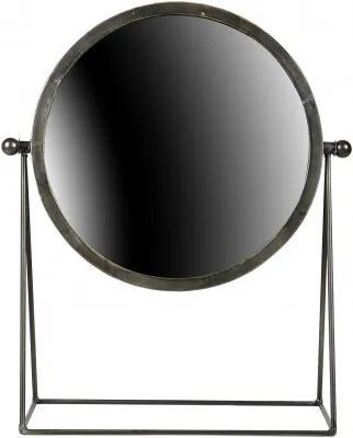 Oglinda rotunda cu rama de metal neagra Hi, 43,5X36X16 cm