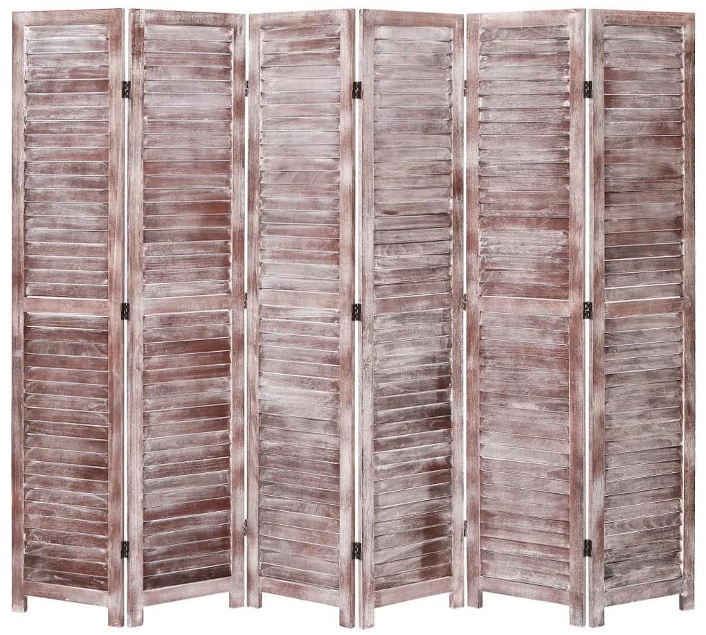 284214 vidaXL Paravan de cameră cu 6 panouri, maro, 210 x 165 cm, lemn
