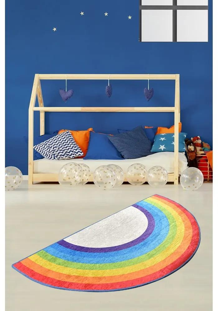 Covor antiderapant pentru copii Chilai Rainbow, 85 x 160 cm