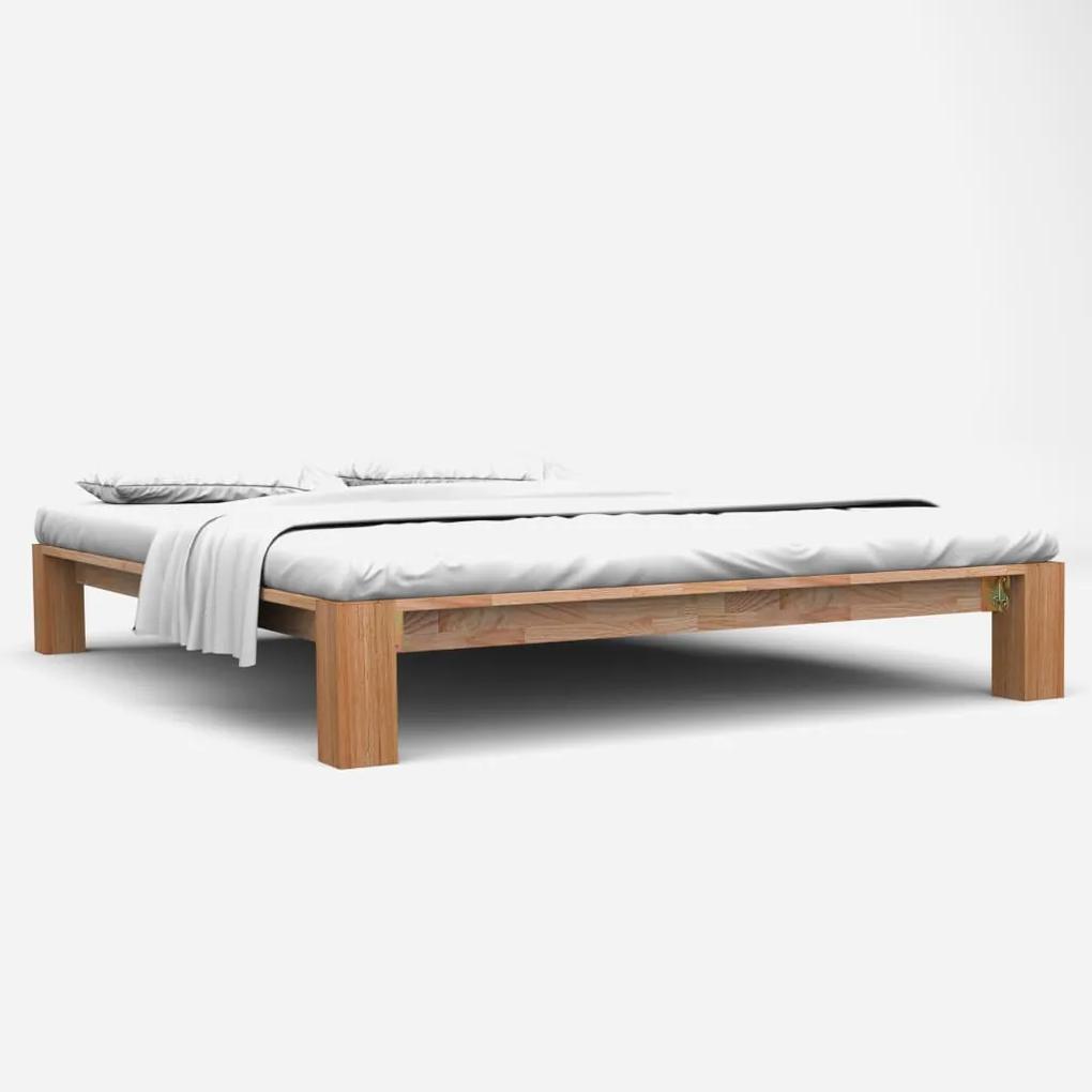 247267 vidaXL Cadru de pat, 140 x 200 cm, lemn masiv de stejar