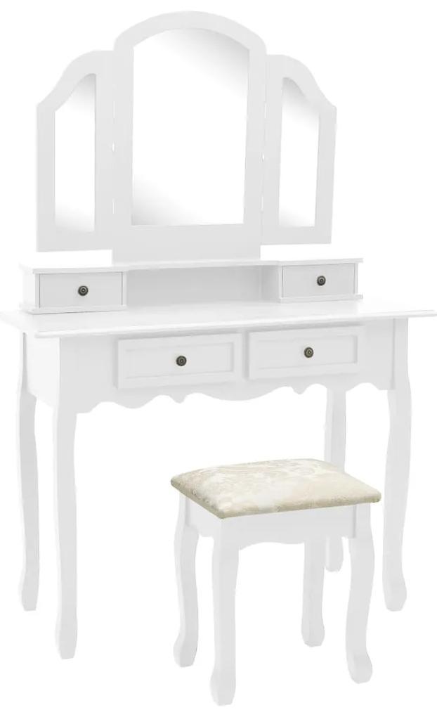 289322 vidaXL Set masă toaletă cu taburet alb 100x40x146 cm lemn paulownia