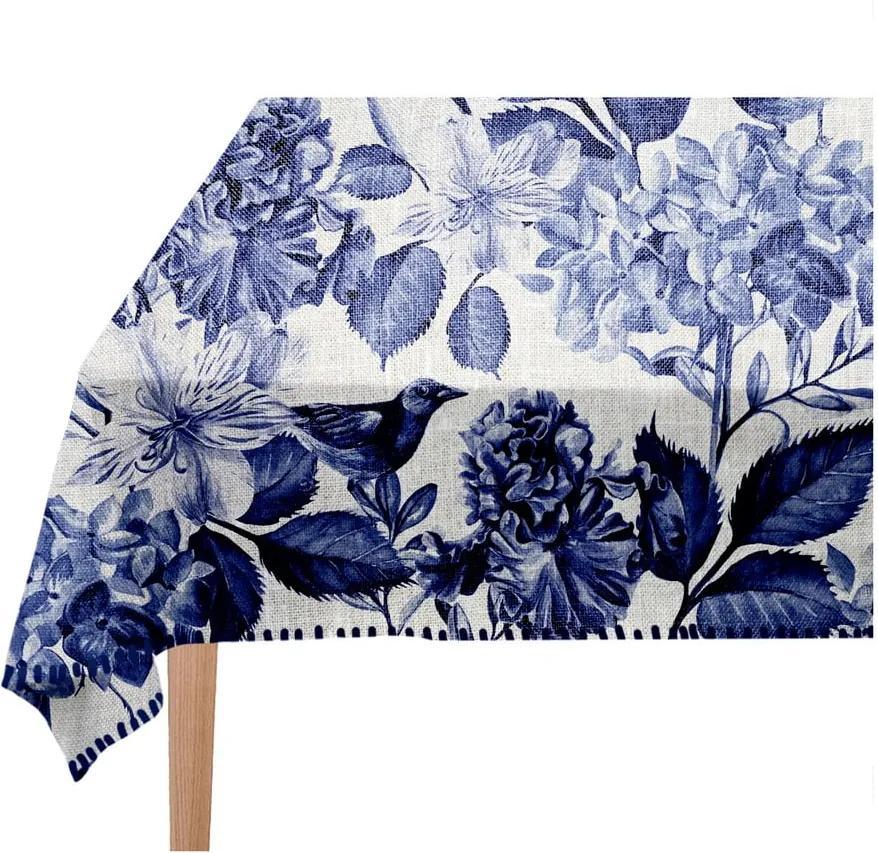 Față de masă Linen Couture Blue Birds, 140 x 200 cm