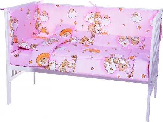 Lenjerie patut cu 5 piese Sleepy Teddy Bear Pink 008