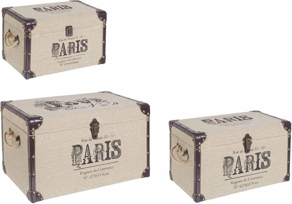 Set 3 cufere depozitare crem maro Paris 60 cm x 35 cm x 34 h