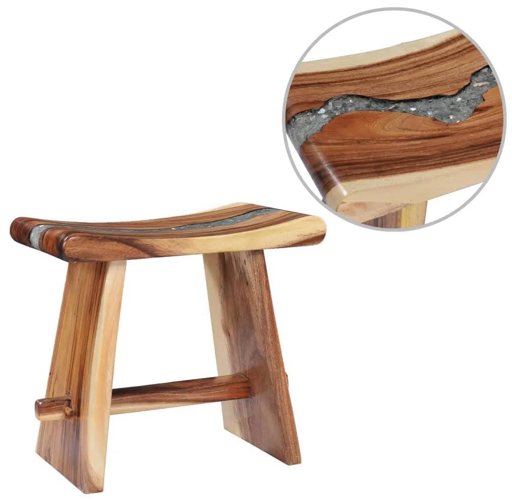 281647 vidaXL Taburet din lemn masiv de suar și polirășină