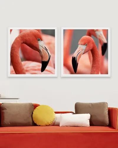 Tablou 2 piese Framed Art Flamingo Heads