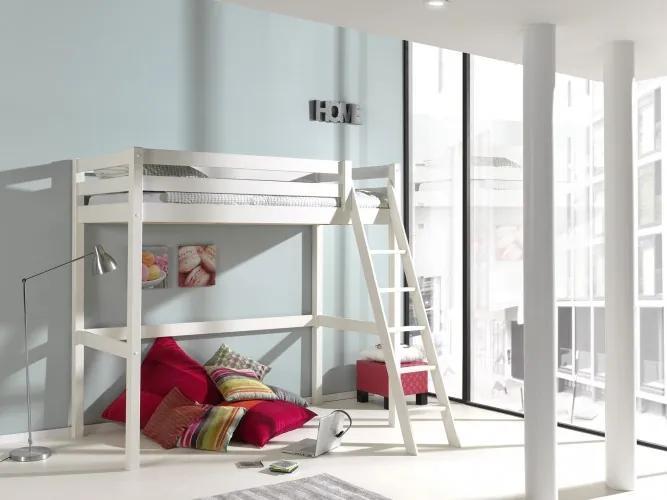Pat etajat din lemn de pin pentru copii si tineret Pino Mezzanine II Alb