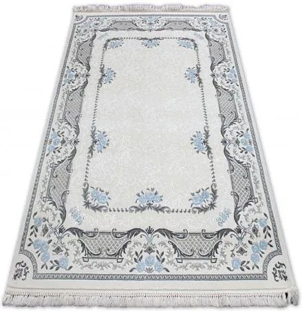 Covor acril Mirada 0065 crem si albastru  Franjuri 160x230 cm