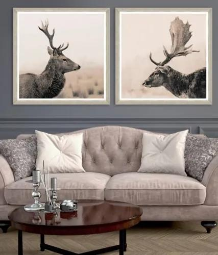 Tablou 2 piese Framed Art Stag Portraits