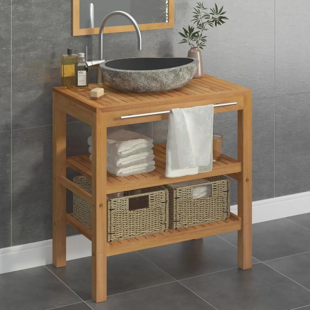 246498 vidaXL Dulap de toaletă, lemn masiv de tec, chiuvetă din piatră de râu