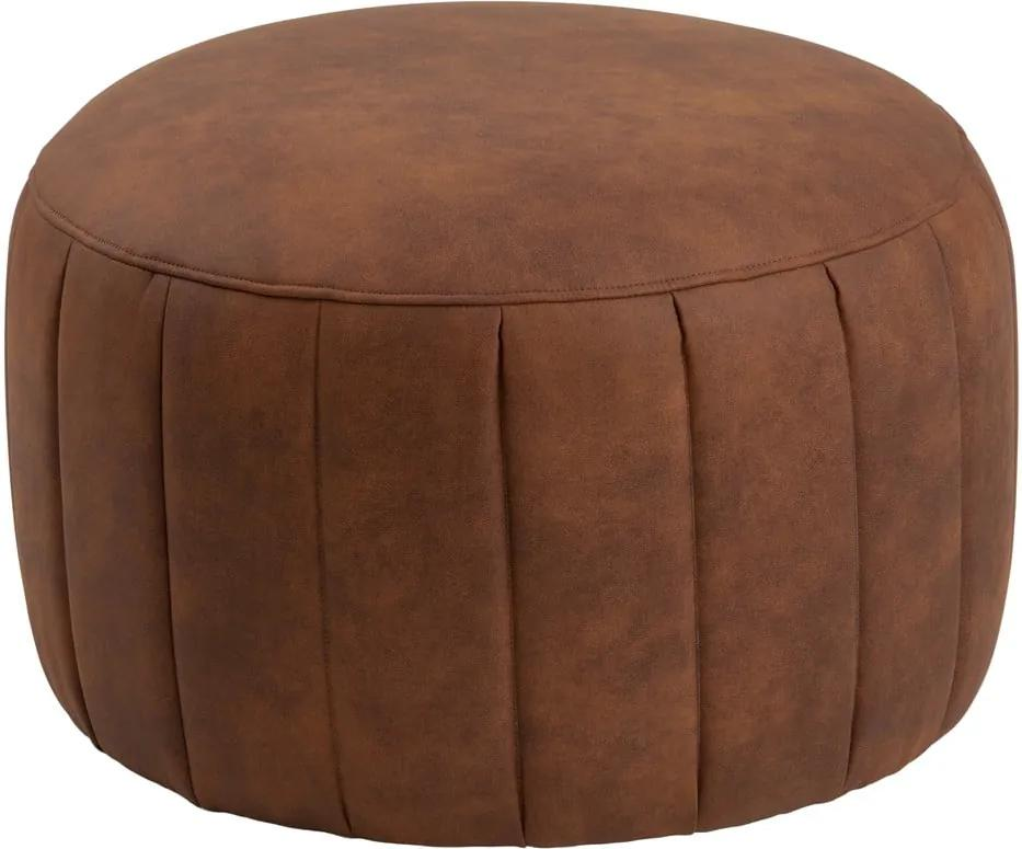 Puf cu husă din piele sintetică Actona Doria, ⌀ 60 cm, maro coniac