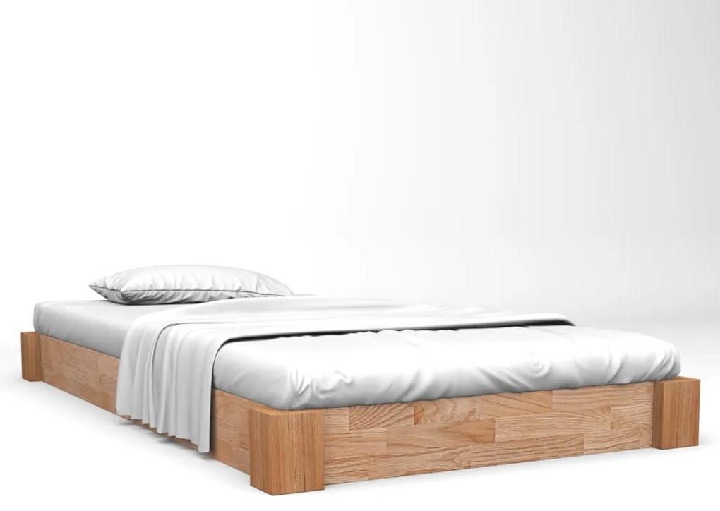 247258 vidaXL Cadru de pat, 140 x 200 cm, lemn masiv de stejar