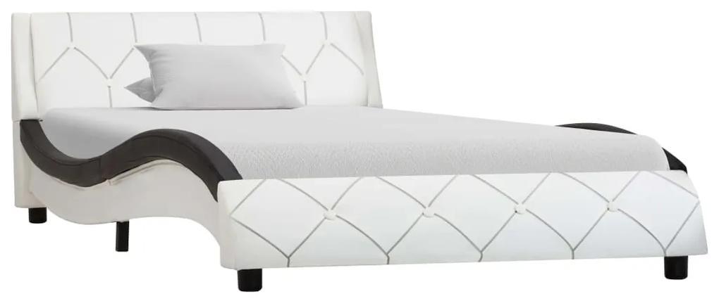 285642 vidaXL Cadru de pat, alb și negru, 90 x 200 cm, piele ecologică