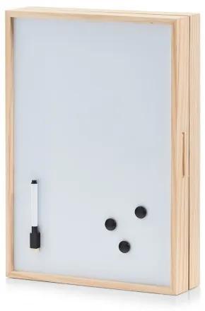 Suport pentru chei, din lemn Memo Board, Alb/Natural, l30xA8xH42 cm