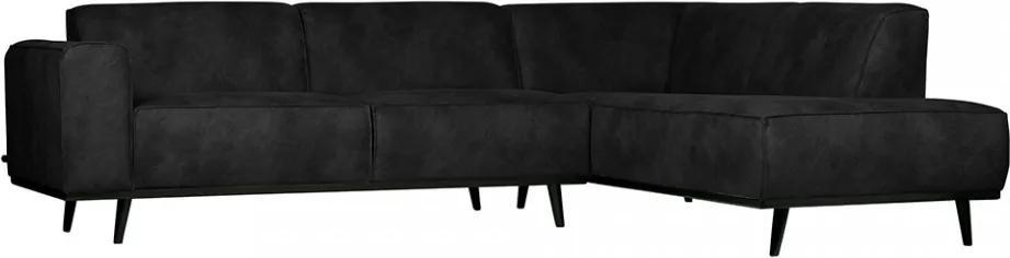 Canapea piele neagra cu colt Statement Suedine Black Right Be Pure Home