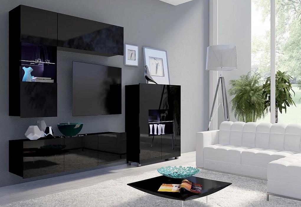 Expedo Set living BRINICA NR3, negru/negru luciu + LED alb