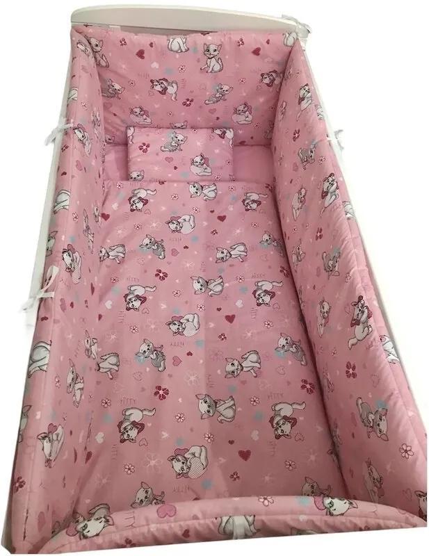 Deseda - Lenjerie de pat bebelusi cu aparatori laterale pufoase  Pisicu?›e roz