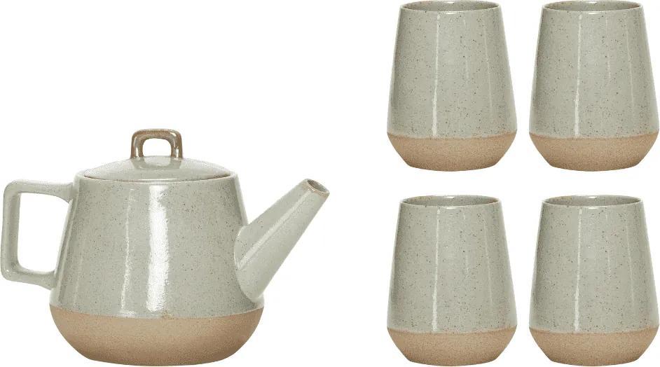 Set Ceainic cu Patru Cani - Ceramica Gri Diametru(9 cm) x Inaltime(8 cm) x Diametru(11 cm) x Inaltime(15 cm)