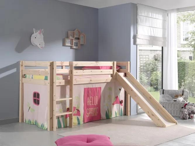 Pat etajat din lemn de pin, cu tobogan pentru copii Pino Spring Natural, 200 x 90 cm