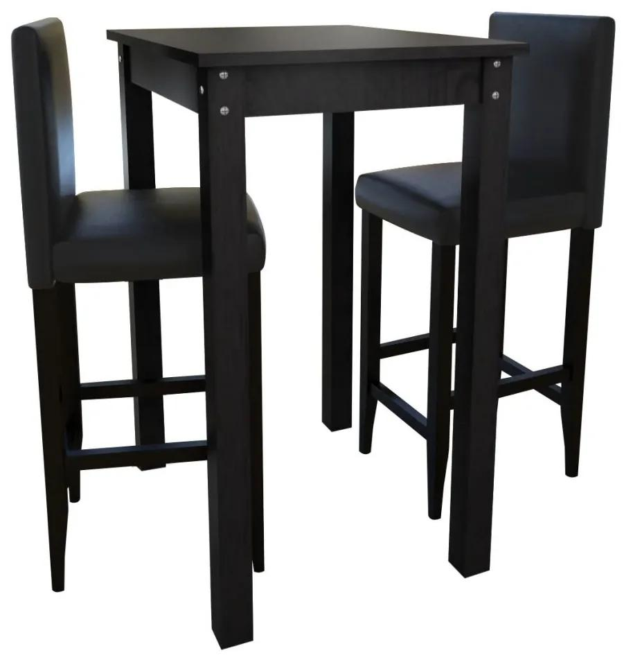 160726 vidaXL Masă de bar cu 2 scaune de bar, negru
