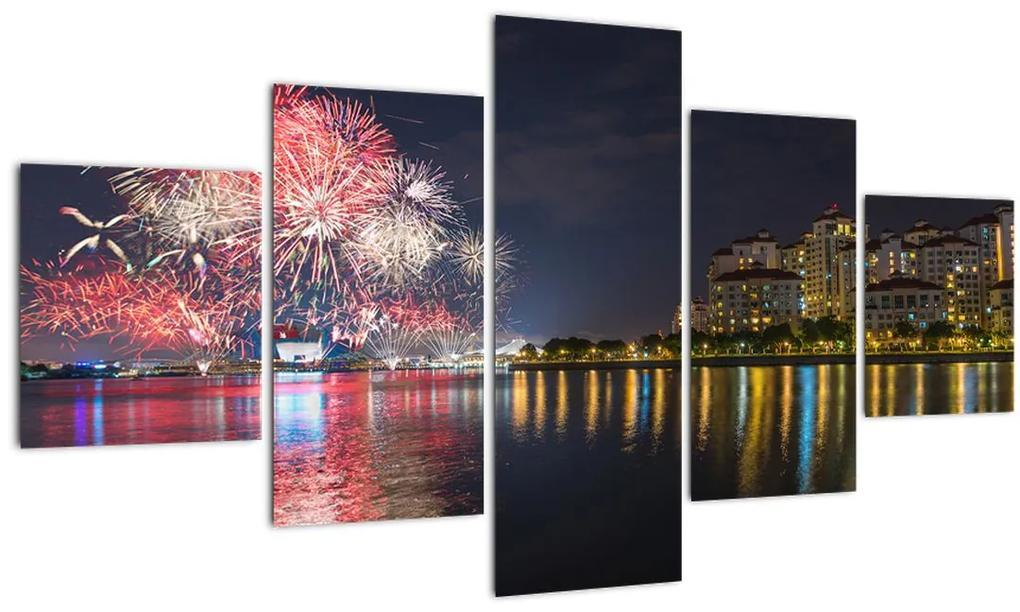 Tablou cu artificii in Singapur (125x70 cm), în 40 de alte dimensiuni noi