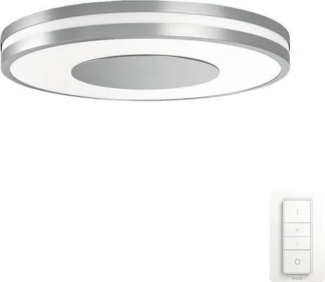 Set Philips Hue telecomanda si plafoniera cu LED integrat Being 32W 2400 lumeni, lumina alba 2200-6500K, alb/nuanta aluminiu