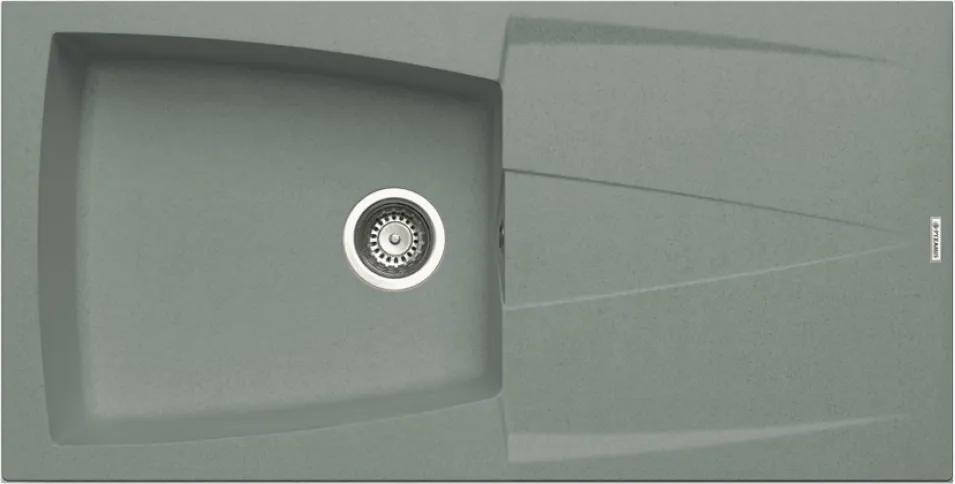 Chiuveta de bucatarie Pyramis Caldera 1B 1D Metal Titanium, 100 cm, granit