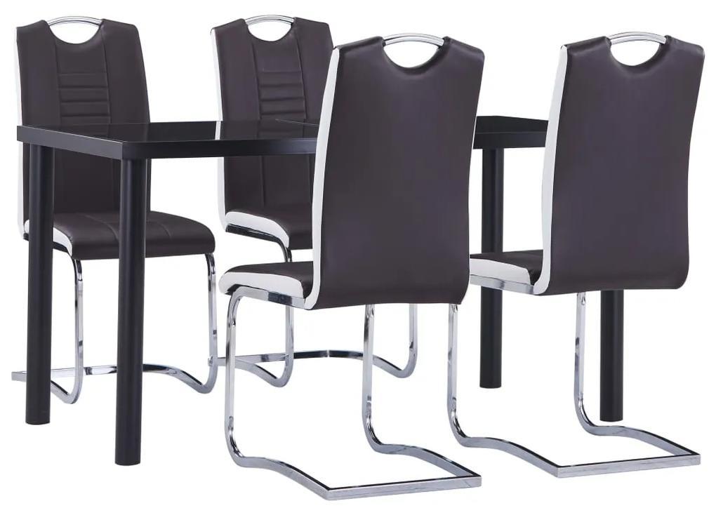 3053030 vidaXL Set mobilier de bucătărie, 5 piese, maro, piele ecologică