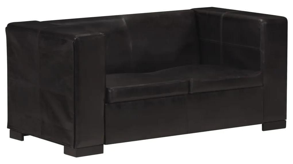 325119 vidaXL Canapea cu 2 locuri, negru, piele naturală