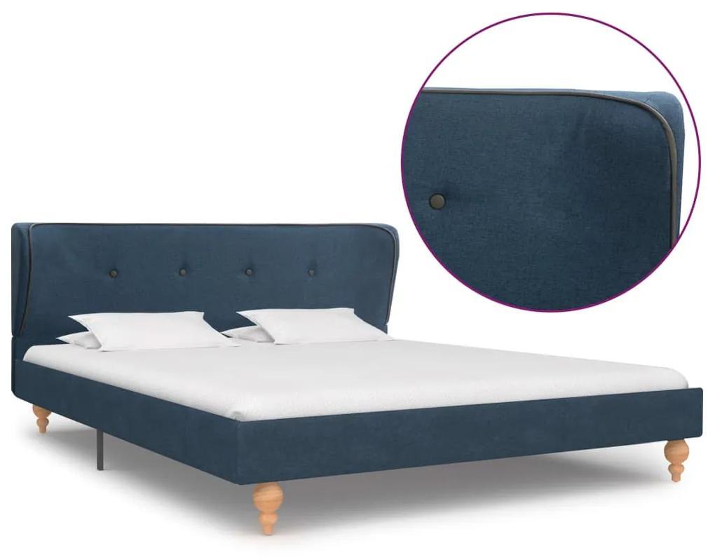 280579 vidaXL Cadru de pat, albastru, 140 x 200 cm, material textil